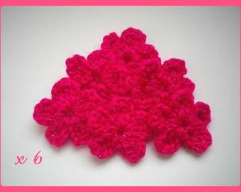 Lot 6 yarn crochet applique flowers