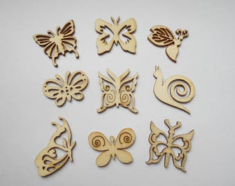 9 embellishments in wood, wood nature theme, butterflies, insects nine figurines