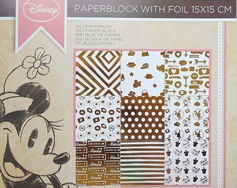"Block 18 sheets 15 x 15 cm ""Minnie"" Disney scrapbooking"