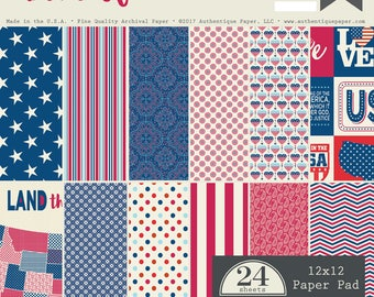 New! AUTHENTIQUE 12X12 Pad, United Collection, 12 X 12 Designer Paper Pad, Patriotic/Americana Theme Scrapbook and Papercraft