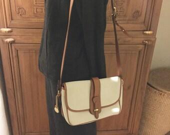 Vintage Off White British Tan Leather Dooney & Bourke Crossbody Bohemian Chic Cottage Chic Shoulder Strap Messenger Purse handbag