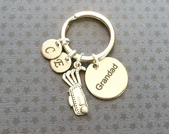 Personalised Grandad gift - Birthday gift for Grandad - Grandad keyring - Golf gift - Golf keyring - Gift for golfer - Stocking filler - UK