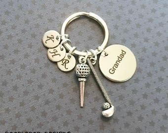 Personalised Grandad keyring - Golf keyring - Birthday gift for Grandad - Golf club keychain - Golf Grandad gift - Stocking filler - UK