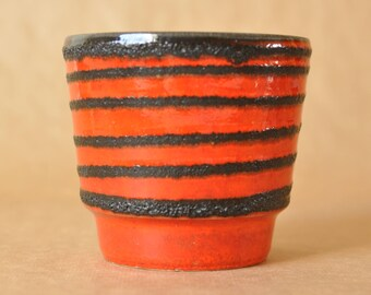 Fat Lava planter - West German Pottery Red and black - flower plant pot - Marzi & Remy