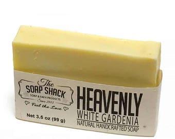 Gardenia Handmade Soap | Heavenly Floral Scent | Moisturizing Shea Butter | Beautiful Yellow and White Swirl