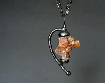 aragonite crystal cluster necklace, statement  necklace, natural raw stone, Tiffany method, handmade