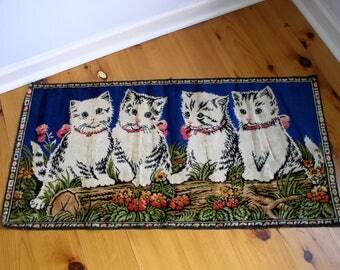 Velveteen Style Vintage Tapestry of 4 Kittens