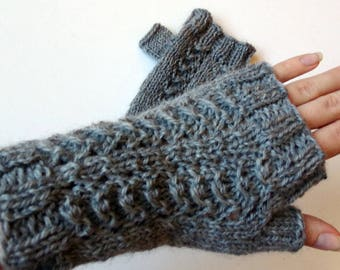 100% Wool Lace Textured Fingerless Mittens