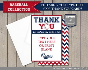 INSTANT DOWNLOAD Baseball Editable 4x6 Thank You Cards / You Type Text / Birthday Party / Baby Shower / Baseball Collection / Item #911