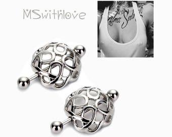 Surgical Steel NIPPLE RING, 2pc nipple piercing, body jewelry, nipple jewelry stainless steel, body piercing, bridge barbell