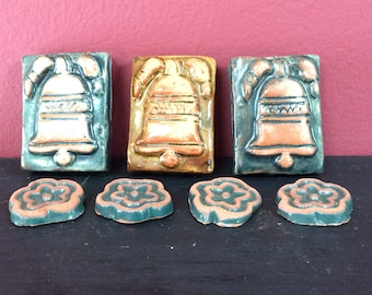 Moravian Pottery & Tile Works Liberty Bell and Flower Accent Tiles