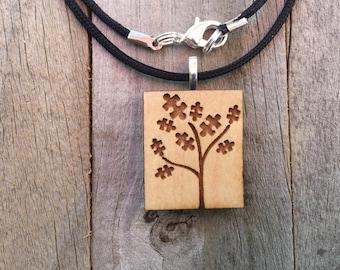 Autism Jewelry-Autism Awareness Tree Pendant-Autism Puzzle Piece Necklace-Autism Art-Art Jewelry-Laser Cut Pendant-Autism Gift