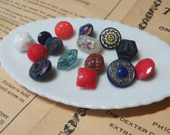 15 Antique Diminutive Colored Glass Buttons Charm String Buttons