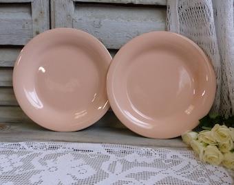 Set of 2 antique french blush pink round serving platter Salmon pink platter. Oinment pink. Shabby pink. Minimalist. Art deco
