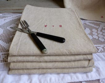 Set of 4 French vintage rustic hemp linen kitchen towels. Beige red stripe tea towel. Rustic french country kitchen. Metis linen hemp