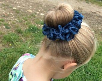Teal Ruffle Hair Scrunchie