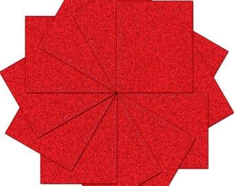 "Pre-cut Sheets Glitter Heat Transfer Vinyl - Red - 12 Sheets - 10""x12"""