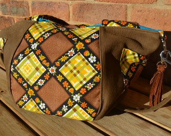 Bucket Tote. Tote Bag. Brown Leather and Vintage Fabric.