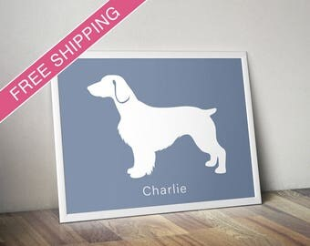 Personalized Welsh Springer Spaniel Silhouette Print with Custom Name (Docked Tail) - dog art, dog poster, dog gift, dog home decor