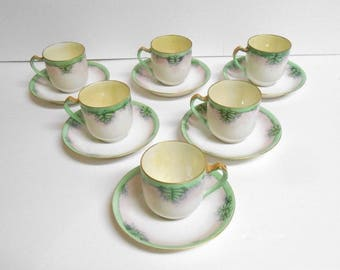 "Haviland France Antique Demitasse Mini Tea Cups 2""x 2"" Green Leaf Gold Trim - 6 Total"