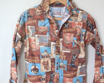 vintage cowboy western pearl snap button up shirt