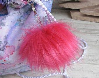 Fashionable Hot Pink Key ring, Faux Fur Pom pom Keychain, Very Soft Fur Pompom For handbag Vegan Fur Accessory Ready to send