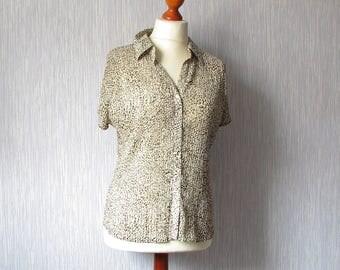 Oversized Shirt Leopard Print, Elegant Top Blouse 90s, Vintage Grunge clothing, Size XL