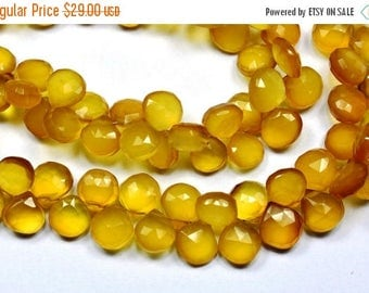 40%DIS 8 Inch 11-12mm-Yellow Chalcedony Faceted Heart Shape Briolette Beads-40-42 Beads(5730-31)