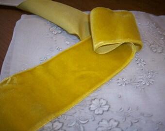"Vintage rayon Antique Mustard Velvet Trim Ribbon 2"" Yardage"