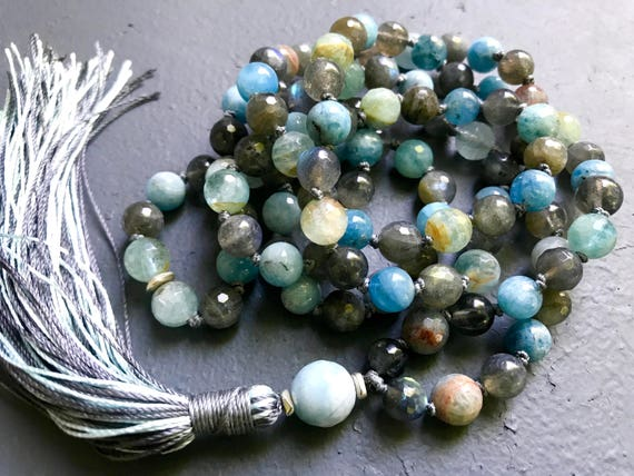 Aquamarine Mala Beads - Labradorite Mala Necklace - Throat Chakra Mala - Yoga Jewelry - March Birthstone - Jewelry with Meaning, Japa Mala