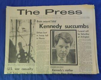Robert Kennedy Assassination 6 - 6 - 68 The Press Riverside Newspaper