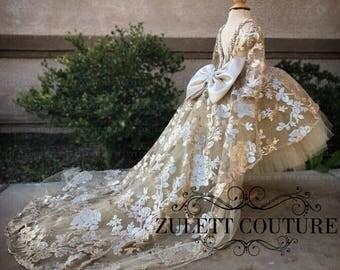 Baptism Dress - Mini Bride Dress - Flower Girl Dress - sequin Dress -  High to Low Dress - Big Bow Dress - Wedding Dress - Genesis by Zulett