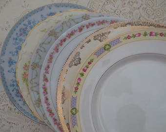 Set of 6 Mismatched Chippy Dinner Plates. Shabby Chic Plates.  Floral China Plates. Victorian Plates, Tea Party Bridal Shower. Mix Match