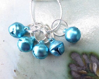 STITCH MARKERS, CHRISTMAS bells, blue, turquoise, 5, Mollycoddle Yarns Indie wool dyer, gift, present, knitter, handmade