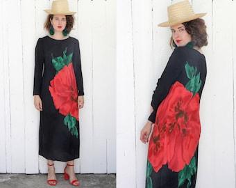 Vintage 80s Dress | 80s Black Long Sleeve Rayon Dress Watercolor Floral Print | Small S Medium M