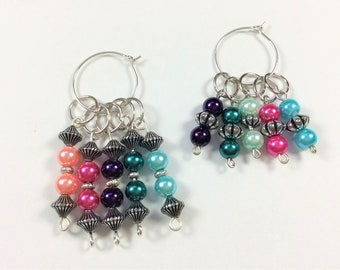 Knitting Stitch Markers - beaded stitch markers, progress keeper - 2 sets - wip markers