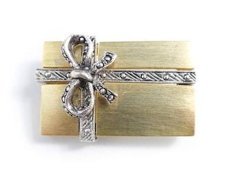 Vintage Darlene Gift Brooch, Marcasite Look, Brushed Gold Tone, Silver Tone, Signed, Christmas, STX71