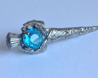 Scottish Mizpah Dagger / Sword Brooch or Shawl Pin-Turquoise Coloured Stone - Gifts for Her - Christmas