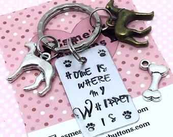 Whippet keyring, Whippet gift, Christmas gift, Hand Stamped, Key Ring, Dog Lover, for her, for him,