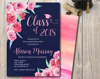Graduation Invitation, Graduation Announcement, Pink and Navy Blue Graduation Invitation, Double-Sided, Watercolor Peonies
