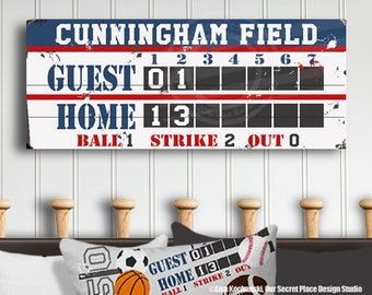 Custom Scoreboard Wood Sign Wall Art For Bedroom Planked