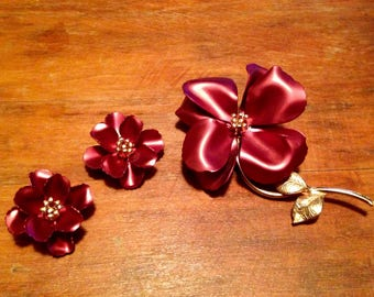Vintage Flower Brooch and Clip On Earrings