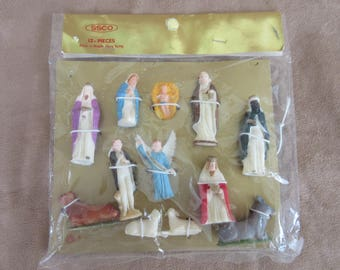 Vintage ART Plastics British Hong Kong Hard Plastic Nativity Set Eight (12) Pieces