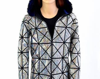 Childrens Silver on Black Cracked Tile Long Sleeve Zipper Front Jacket w/Blue Sparkly Jewel Hood Liner Kids Sizes 2T 3T 4T and 5-12  154650
