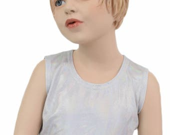 Girls Sleeveless Crop Top TOP ONLY in Flashbulb Holographic Reactive Sizes 2T 3T 4T and 5-12 - 154700
