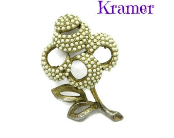 Kramer Beaded Flower Brooch, Vintage White Bead Gold Tone Brooch, Floral Pin, Missing Beads, FREE SHIPPING