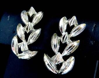 Coro Leaf Earrings, Vintage Silver Tone Clip-on Earrings, Gift for Her