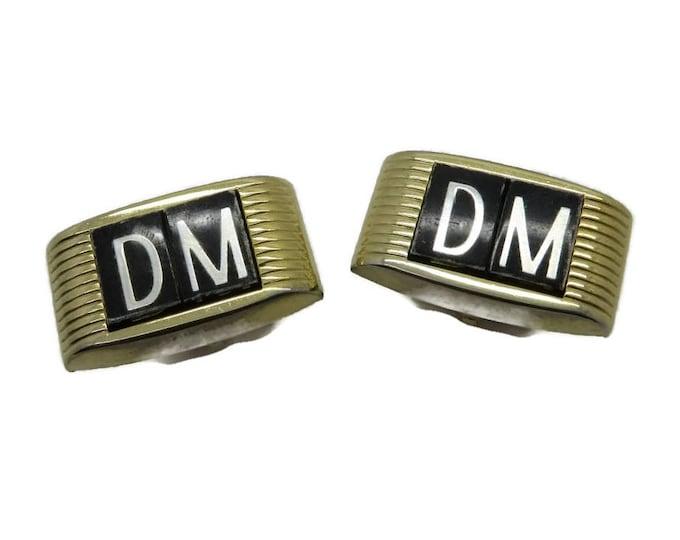 "Vintage Monogrammed Cufflinks, Initials Cufflinks, ""DM"" Cufflinks, Goldtone 60s Cuff Links, Men's Gift, Suit Accessory"