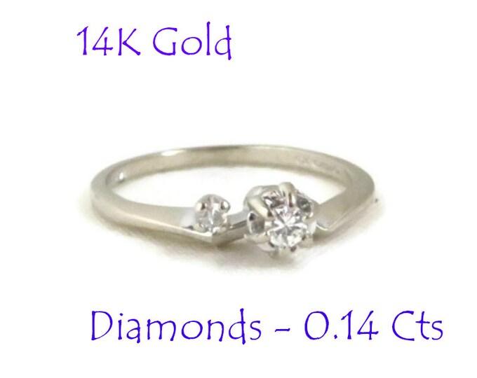 Diamond - 14K Gold Diamond Ring, Vintage White Gold Two Stone Diamond Ring, Engagement Ring, Size 7