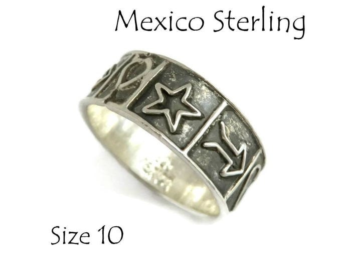 Sterling Silver - Mexico Wide Band Ring, Vintage Sterling Silver Love Heart Ring, Unisex Ring, Size 10, Gift Idea